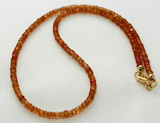 Collar de zafiro Cadena piedras preciosas facetado RONDELL amarillo anaranjado