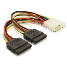 Molex to 2 SATA Hard Drive Dual Power Adaptor Y Splitter Cable 4 Pin 15 Pin