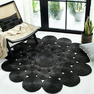 Round Rug Jute Stylish Black Natural Reversible 100%Jute Rug Braided Modern Look