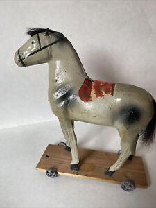 Antique GERMAN Paper Mache HORSE Pull Toy vintage wooden legs  PUTZ
