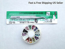12 Color Rhinestones Gems Glitters Tips & 1 Steel Nipper Tweezers Nail Art Tool
