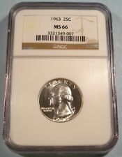 1963 NGC MS66 WASHINGTON QUARTER 25c SILVER MS 66