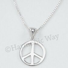 """Sterling Silver 18"""" Chain 925 Peace Sign Necklace Pendant Symbol Charm"""
