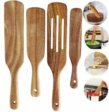 Wooden Spurtle Set of 4 Wood Cooking Utensils Kitchen Non-Stick Cookware Tools