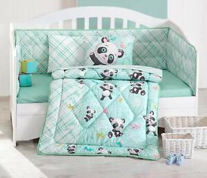 100% Cotton Panda Bedding Quilt/Comforter Set for Cribs Baby Bed Set Mint 6 Pcs
