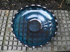 Sowerby Peacock Kingfisher Blue Glass Fruit Bowl / Dish 2725 Mid Century