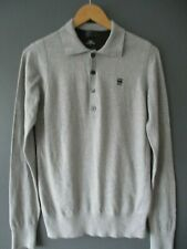 """G-STAR HERITAGE POLO SHIRT (M-38"""") GREY COTTON/CASHMERE LONG-SLEEVE GSTAR - Exce"""
