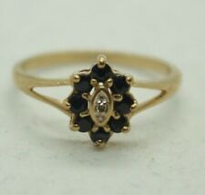 100% Genuine 9k Solid Yellow Gold 0.24cts Sapphire Diamond Cluster Ring 6.25 US