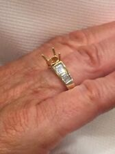 Semi-mount Engagement Ring Mounting 14k Yellow Gold Baguette Diamond