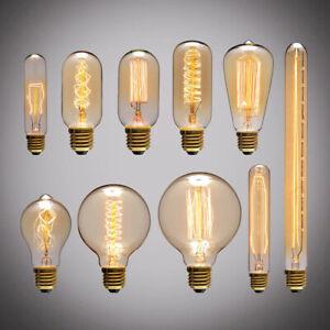 Retro Edison Light Bulb E27 110V 40W ST64 G80 G95 T10 T45 T185 A19 Filament 1PC