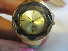 "AVON Brightly Colored Prism Watch Silicone 9"" MINT Strap Goldtone Face"