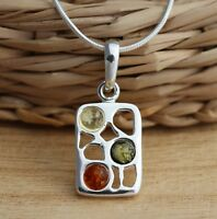 Multicolour Baltic Amber 925 Sterling Silver Pendant Chain Necklace Jewellery