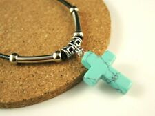 Turquoise Cross Gemstone Boho Necklace Pendant & Silver Tube Beads #2902
