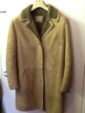 Vintage- 1960's beige suede coat with fake fur lining size12.