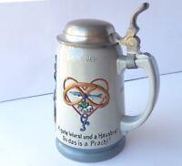 Krug/ Bierkrug mit Spruch, Keramik, Zinn-Montur, Geschützt, um 1900 AL688