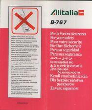 ALITALIA Team Italian Airline B 767 SAFETY CARD 9/96 folder brochure sc831 aa