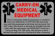Lo-Viz Gray Carry-On Medical Equipment  Bag Tag - TSA - CPAP BiPAP APNEA POC