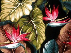PAIR 82x52 Tropical Hawaiian Cotton Barkcloth Fabric Drapes ~Bird Paradise-Black