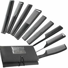 9Pc Hairdressing Hair Stylist Salon Black Carbon Brush Combs Kit Set With Wallet