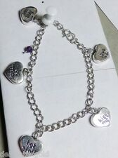"REO 925 Sterling Silver HEART Charm Dangle Bracelet 7.5"" Ladies Love You Kiss Me"