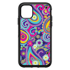 Custom OtterBox Symmetry for Apple iPhone - Hot Blue Yellow Pink Paisley