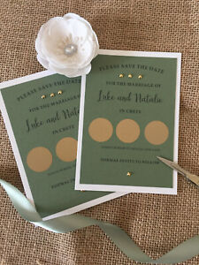 Wedding Save the Date x 50 Scratch card design fully personalised