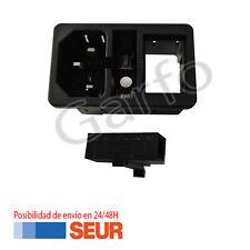 Base de Conexion C14 Macho Interruptor con Portafusible Negro