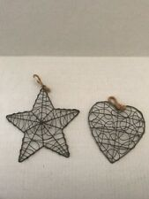 COUNTRY PRIMITIVE Silver Wire Heart and Star Ornament Hanging Decoration 5""