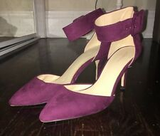 Zara Basic Purple Suede Pointed Toe Ankle Strap Heel Blogger Size 39