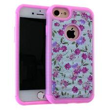 For iPhone 7 / 8 -HYBRID HARD & SOFT ARMOR CASE DIAMOND BLING WHITE PINK FLOWERS