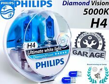 Philips H4 Diamond Vision 5000K Car Headlight Bulbs 12342DVS2 12V 55W + Blue W5W