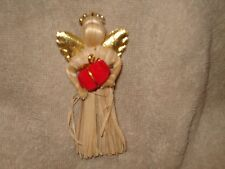"""Wings and Red Christmas Present 4.5"""" Straw Angel Pin W Gold Fabric"""