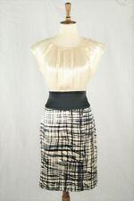BCBG Max Azria Ivory Black Plaid Skirt Silk Sheath Dress Size 8
