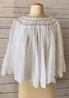 LOLA Made In Italy Womens Size S White Gauzy Cotton Crochet Swing Top