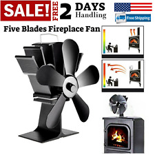 5 Blades Fireplace Fan Wood Burner Stove Thermal Heat Power Fan Top Burner NEW