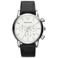 Emporio Armani Uhr AR1810 Herren schwarz Leder Chronograph Watch NEU & OVP