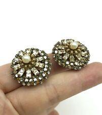 MIRIAM HASKELL Vintage Faux Pearl & Rhinestone Earrings (P0605)