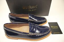 NIB WEEJUNS G.H. BASS Size 7 Women's Navy Patent Leather WHITNEY Penny Loafer