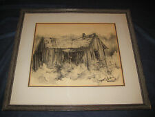 ORIGINAL SIGNED ART TERESA FATER or FATE CHARCOAL SKETCH - SHACK