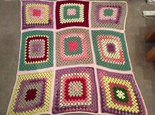 Hand Made Crochet Blanket/Throw - Large Pink Green Yellow Squares 52� x 48� New