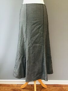 "PER UNA Maxi Skirt 12 Flare panels Regular Grey 35"" Long Stitching A11"
