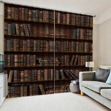 Retro Bookshelf Window Curtain 3D Curtains Drapes Home Living Room Art Decor