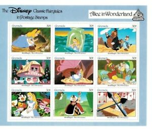 GRENADA  - DISNEY STAMPS - CLASSIC FAIRY TALES  - ALICE IN WONDERLAND - MNH