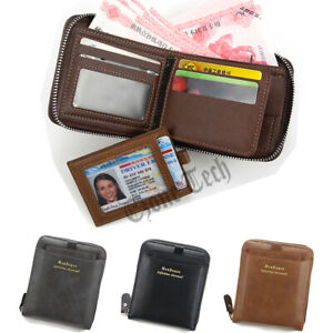 Mens RFID Blocking Leather Wallet Credit Card Holder Money Cash Clip Zip Purse