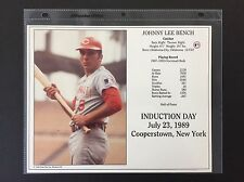 JOHNNY BENCH CINCINNATI REDS 8X10 HALL OF FAME INDUCTION DAY CARD