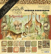 "NEW Graphic 45 12"" x 12"" Deluxe Edition Papercrafting Set Safari Adventures"