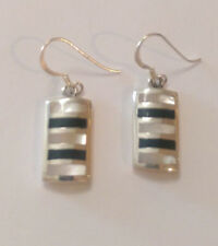 Sterling Silver Mother of Pearl/Black Onyx Rectangular Shaped Dangle Earring