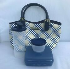 Set of Tupperware Plaid Printed Lunch Bag Set Posh Set