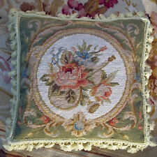 "14"" Beautiful Victorian Style Rose Violin Scroll Handmade Needlepoint Pillow"