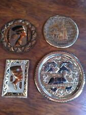 VINTAGE HAND MADE EGYPTIAN ENGRAVED COPPER WALL DECOR PLAQUE ONE IS BRASS